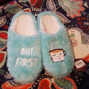 NWT But First... Coffee Slippers